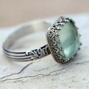 Peridot Carved Silver Fancy Cushion Gemstone Ring